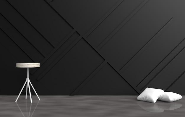 Decoração vazia cinzenta da sala com descansos brancos, cadeira cinzenta, parede de madeira preta, assoalho do cimento. 3d ren