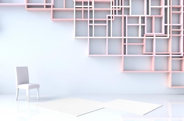 Decoração vazia da sala branca com a parede cor-de-rosa das prateleiras da cor pastel, assoalho de telha, tapete. renderização 3d.
