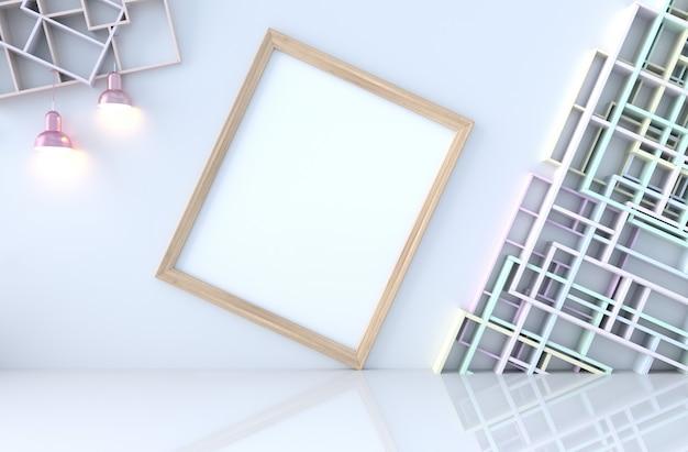 Decoração vazia do quarto branco com parede das prateleiras, assoalho de telha, lâmpada, moldura para retrato. renderização 3d. o sol brilha através da janela para as sombras.