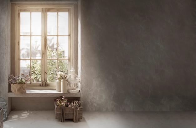 Decoração vintage cottage com parede de cimento para o estilo retro de fundo com flores na prateleira da janela