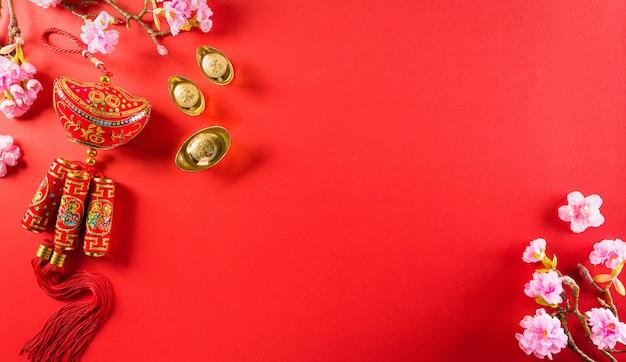 Decorações chinesas pow ou pacote vermelho, lingotes de laranja e ouro