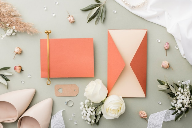 Decorações de casamento e sapatos de noiva