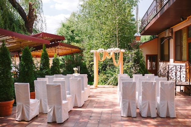 Decorações de cerimônia de casamento.