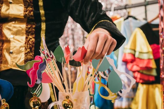 Decorações de close-up para festa de carnaval