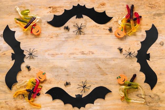 Decorações de halloween colocadas no quadro