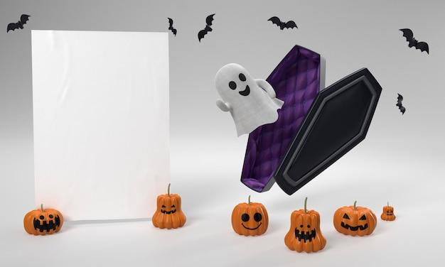 Decorações de halloween com fantasma e caixão