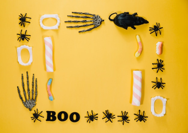 Decorações de halloween e doces