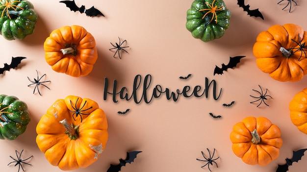Decorações de halloween feitas de abóbora e aranha preta