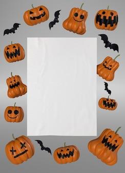 Decorações de moldura de abóbora de halloween