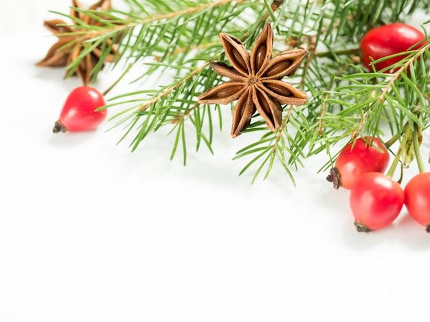 Decorações de natal em branco, bagas de rosa mosqueta, estrelas, ramos de abeto.