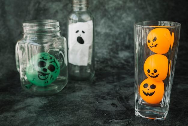 Decorações de vidro de halloween assustador