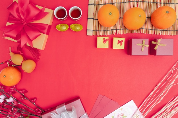Decorações do festival do ano novo chinês saudável e riqueza laranja
