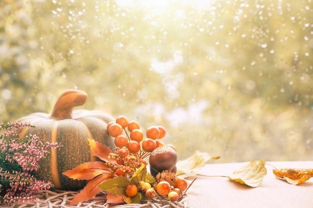 Decorações do outono em uma placa de janela em um dia chuvoso, espaço