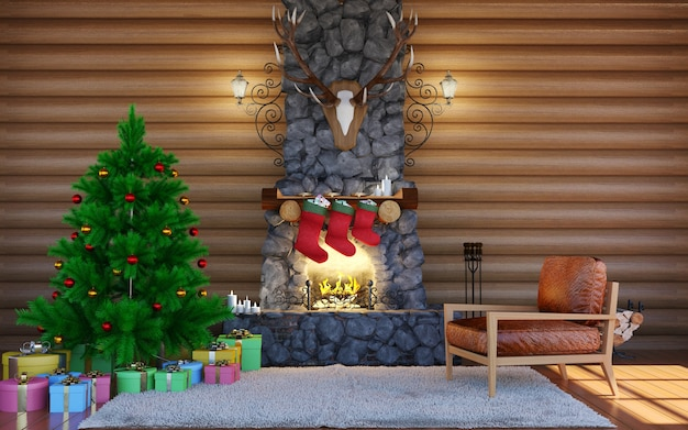 Decorações festivas de natal. interior da sala no edifício de cabine de registro com lareira de pedra.