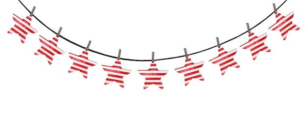 Decorações festivas pintadas com as cores nacionais da bandeira americana.