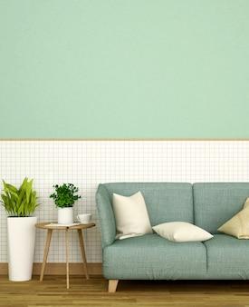 Decorar a sala de estar em casa ou apartamento na parede de cerâmica branca e parede verde