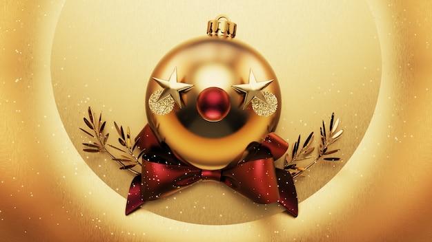 Decore o natal em ouro. ilustração 3d