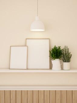 Decration de quadro e parede para renderização de obras de arte ou galeria-3d
