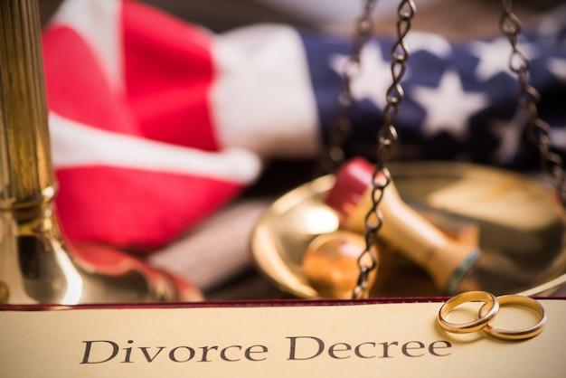 Decreto de divórcio e martelo sobre uma mesa.