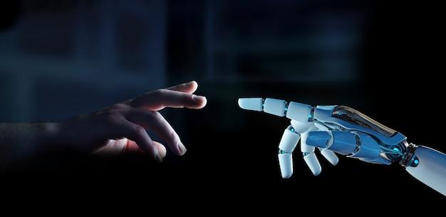 Dedo de ciborgue branco prestes a tocar a renderização 3d do dedo humano