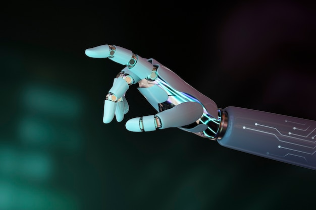 Dedo de mão de robô apontando, fundo de tecnologia de ia