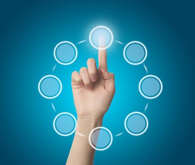 Dedo que toca um círculo virtual