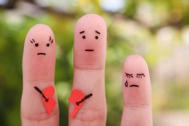 Dedos arte da família durante a briga. o conceito de pais teve briga, uma criança estava chateada.