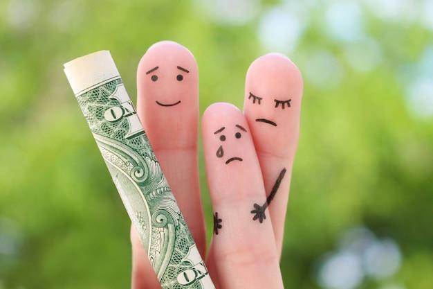 Dedos arte de família. o conceito de ex-marido não paga pensão alimentícia.