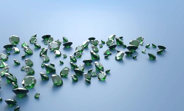 Deep green emerald diamond group ilustração 3d do fundo.