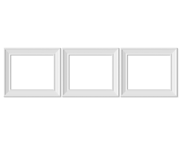 Defina 3 porta-retratos paisagem horizontal 4x5. realisitc papel, branco de madeira ou plástico branco.