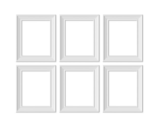 Defina 6 porta-retrato vertical vertical 4x5. realisitc papel, branco de madeira ou plástico branco.