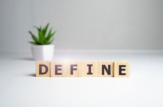 Define a palavra feita com blocos de construção, defina o conceito.