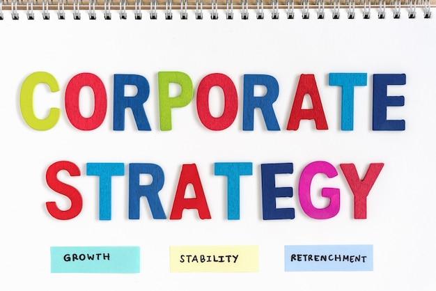 Definição de estratégia corporativa no notebook