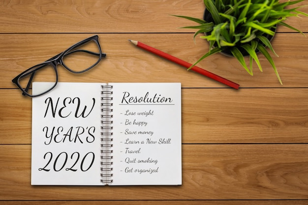 Definição de metas da lista de metas de resolução de ano novo para 2020