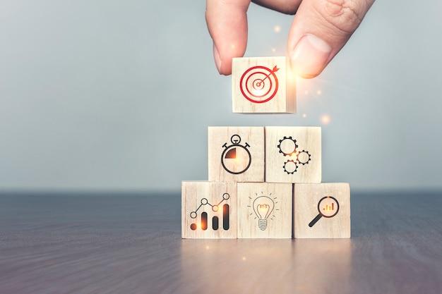 Definição de metas por meio de pesquisa e planejamento até o topo
