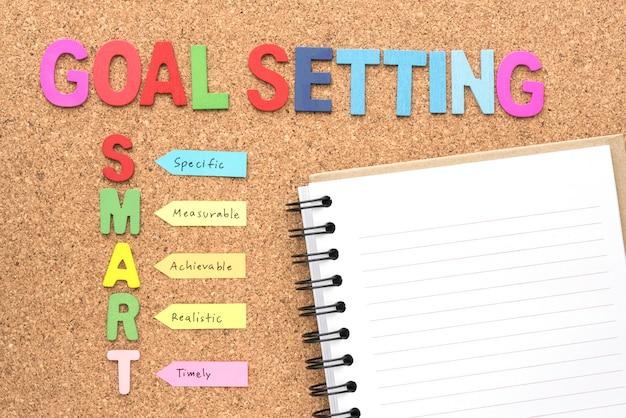 Definição de objetivo palavras e inteligente com notebook