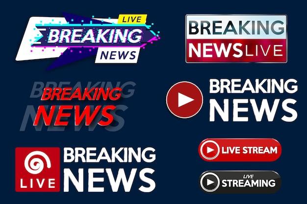 Definir banner para título de modelo de notícias de última hora em fundo azul para canal de tv de tela