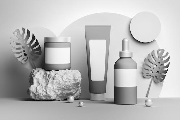 Definir coleção de tubos de frascos de frascos de cosméticos