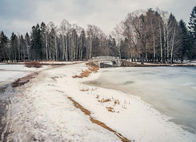 Degelo da primavera. beco do parque com neve derretida, poças e gelo em um dia de primavera. neve e sujeira no parque. patches descongelados. a primavera está chegando, o mês de março.
