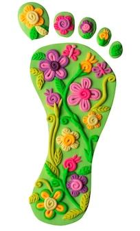 Degrau de plasticina com decoração floral