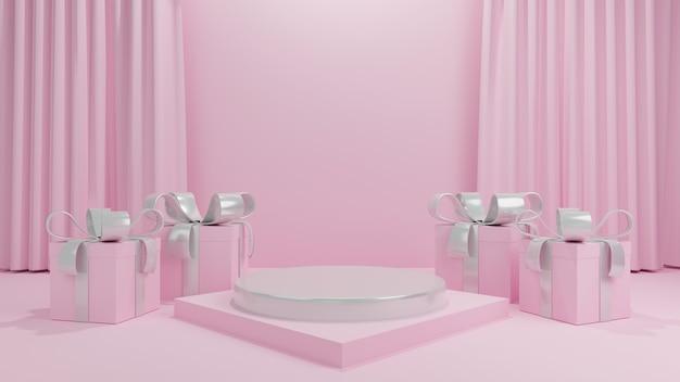 Degraus de pedestal branco com caixa de presente fita prateada em cortina rosa