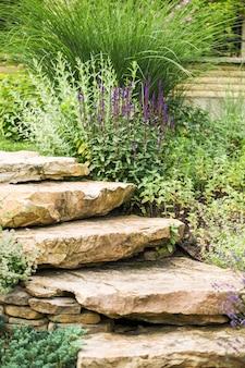 Degraus de pedra entre plantas com flores, como parte do projeto paisagístico perto de uma casa de campo