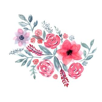 Delicado bouquet floral em aquarela azul e rosa com folhas e flores tenras
