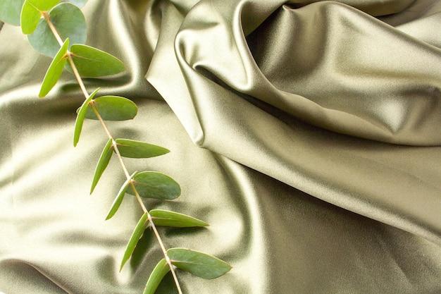 Delicado tecido verde e um raminho de eucalipto nas dobras do tecido. estilo flat lay