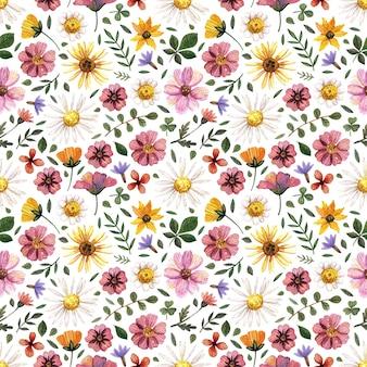 Delicados padrões florais prensados em aquarela sem costura e arranjos de flores secas são colocados em branco