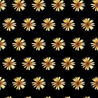 Delicados padrões florais prensados em aquarela sem costura e arranjos de flores secas são colocados em pretos