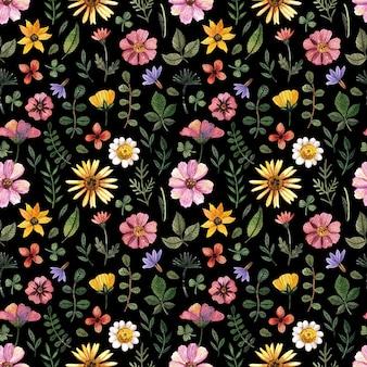 Delicados padrões florais prensados em aquarela sem costura e arranjos de flores secas são colocados no preto