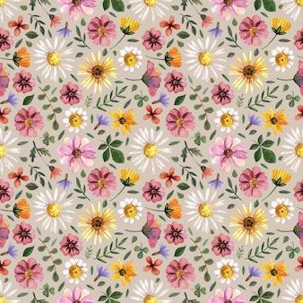 Delicados padrões florais prensados em aquarela sem costura e arranjos de flores secas