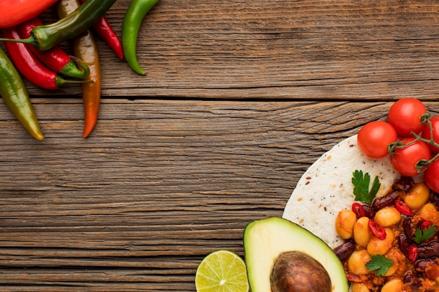 Deliciosa comida mexicana com espaço de cópia