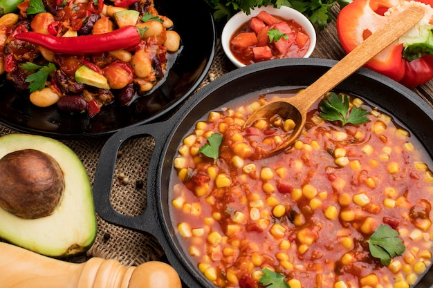 Deliciosa comida mexicana pronta para ser servida